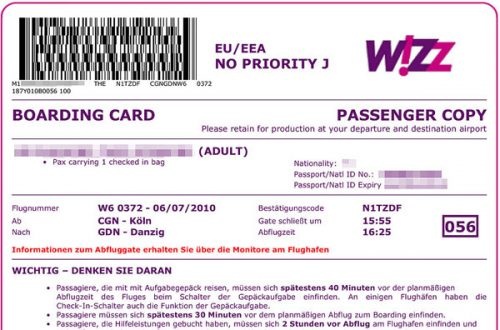 Biglietto per rimborso volo wizzair