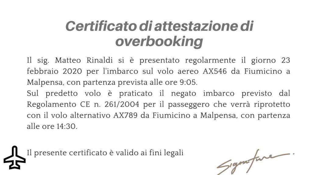 Certificato di attestazione dell'overbooking