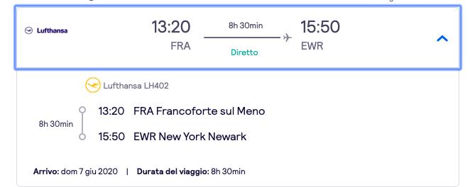 Esempio secondo volo con altra prenotazione