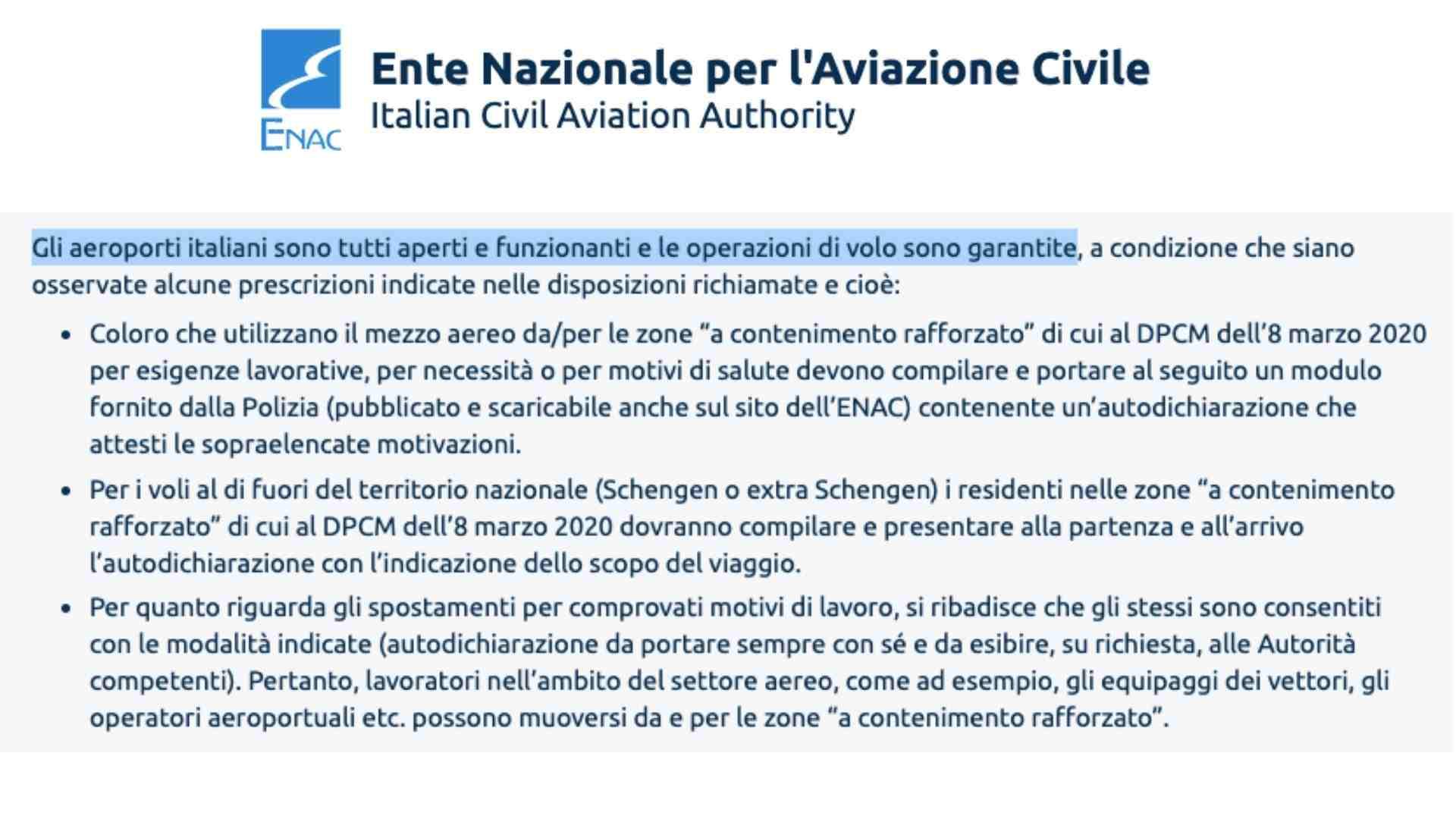 ENAC conferma aeroporti aperti in Italia