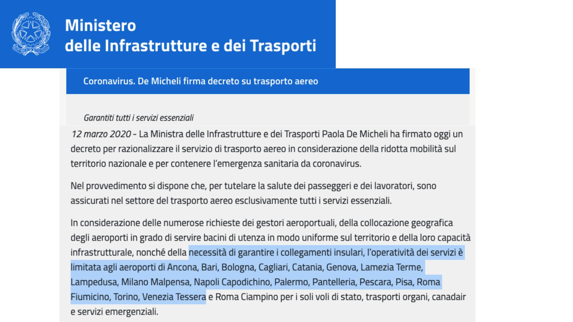 Ministro trasporti De Micheli chiude alcuni aeroporti in Italia, ma non tutti